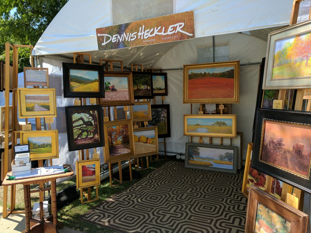 Dennis Heckler Artist booth at Big Four Arts